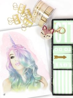 FLAKE STICKERS Unicorn Girl Mermaid Pastel stickers watercolor planner decoration painting   art print planning home decor drawing