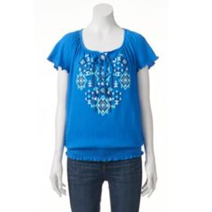 Women's French Laundry Smocked Graphic Top