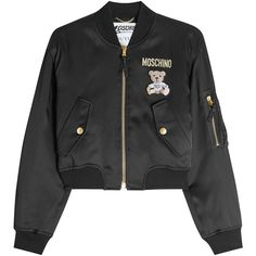 Moschino Satin Bomber ($1,375) ❤ liked on Polyvore featuring outerwear, jackets, black, style bomber jacket, pull&bear bomber jacket, moschino jacket, cropped jacket and satin bomber jackets