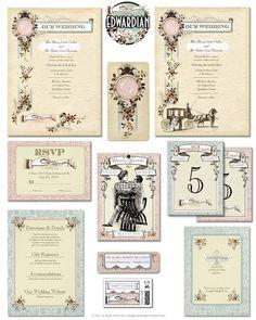 1900-1919 Turn Of The Century, Edwardian Downton Abbey Style Wedding Invitations
