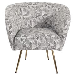 Foundstone HomePop Arra Accent Chair - Light Grey Textured Velvet Upholstery Colour: Grey Lines Print Black Furniture, Shabby Chic Furniture, Cool Furniture, Modern Furniture, Stylish Chairs, Modern Chairs, Buy Chair, Chair Types, Modern Rustic Interiors