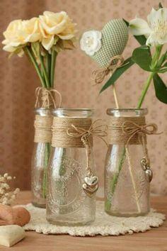 Diy Bottle, Wine Bottle Crafts, Bottle Art, Pot Mason Diy, Mason Jar Crafts, Mason Jars, Bottles And Jars, Glass Jars, Altered Bottles