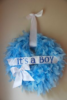 hospital door wreath It's a BOY Feather Wreath by victorianpetals, $32.00