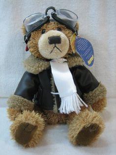"""Ralph """"The Bear of Friendship"""" Aviator 8 1/2"""" Brass Button Bear Brass Button Bears"""
