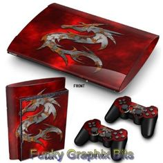 PS3 Super Slim Playstation Skin Stickers PVC for Console + 2 Controllers/ Pads Decal Protector Cover Art Leather Effect: Amazon.co.uk: PC & Video Games