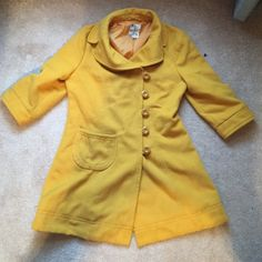 Yellow Coat Such a cute statement coat! 3/4 length sleeves. Would look amazing with a cute sweater under neath. Five buttons. Heavy weight. Size large but would look cute small-large Tulle Jackets & Coats