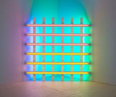 Dan Flavin is famous for creating sculptural objects and installations from commercially available fluorescent light fixtures.