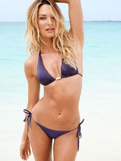 Polished in rich purple. // Victoria's Secret Elongated Triangle Top