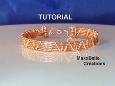 You're going to love Basic Copper Wire Weave Bracelet by designer margieaz. Lace Bracelet, Wire Wrapped Bracelet, Woven Bracelets, Copper Bracelet, Wire Tutorials, Jewelry Making Tutorials, Wire Jewelry Patterns, Bijoux Fil Aluminium, Wire Weaving
