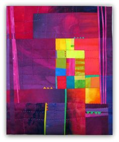 """A Bright Spot, 16x13.5"""" Fused and hand quilted silks and cottons."""