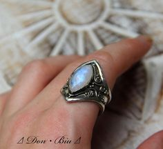 Cocktail Moonstone Ring, Statement Personalized, Engraving, Silver Rings for Women, Moonstone, Gemstone, Gypsy, High Fashion Sterling Ring