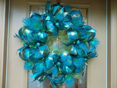 Green and Teal Peacock Feather Deco Mesh Wreath by DecoDzigns, $115.00