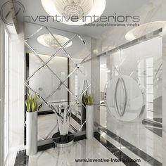 Projekt wiatrołapu Inventive Interiors - spektakularne lustro cięte w romby w ekskluzywnym domu