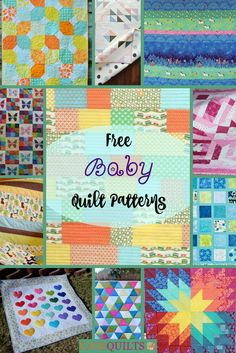 You are going to love this collection of free baby quilt patterns. Find patchwork, colorful designs, animals, and more. Make any of these for a new baby. Baby Rag Quilts, Baby Patchwork Quilt, Boy Quilts, Free Baby Quilt Patterns, Baby Quilt Tutorials, Quilting Patterns, Quilting Ideas, Patchwork Patterns, Kids Patterns