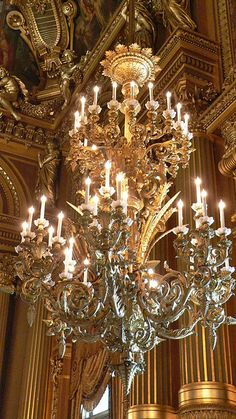 Close-up of Chandelier    One can only imagine the complexities of having to light each candle separately when actual candles (or even gas lamps) were the source of light in these things. What an enormous task!    Palais Garnier, Paris