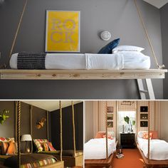 love ropes and these floating beds with rope are very cool!