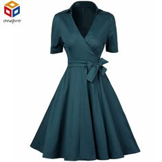 Half Sleeve Green Classy V-Neck Audrey Hepburn 40s 1950s Retro Rockabilly Dress Vintage Elegant Swing Party Wrap Dress Bow Belt