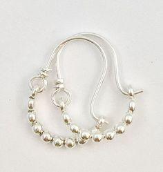 Mini Bubble Beaded Sterling Silver Hoop Earrings Ready to Ship
