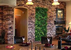 20 More Awesome Vertical Garden Inspirations : 25 More Cool Vertical Garden Inspirations With White Natural Stone Wall Wash Basin Fireplace Lamp Sofa Table Plate Glass Bar Stool And Hardwood Floor And Chandelier Verticle Garden, Vertical Garden Design, Herb Garden, Gravel Garden, Interior Garden, Home Interior, Natural Stone Wall, Glass Bar, Design Jardin