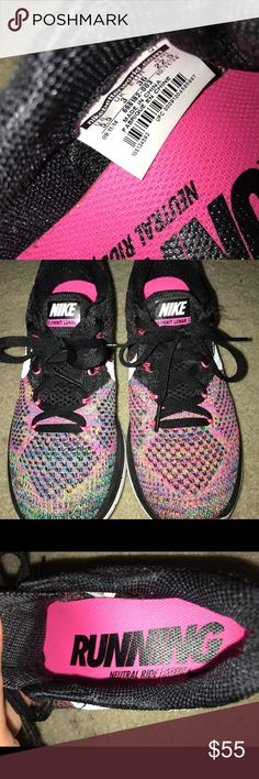 Nike running shoes! Worn a couple of times Nike Flyknit Lunar 3 muliticolor way. Woman's size 5.5 . No Box Nike Shoes Sneakers
