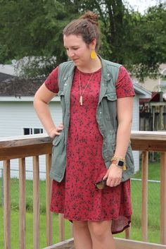 LuLaRoe Carly Dress for fall - Utility Vest Outfit