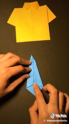 Origami Tie, Origami Shirt, Origami Easy, Paper Crafts Origami, Paper Crafts For Kids, Diy Paper, Spring Crafts For Kids, Diy For Kids, Diy Crafts Hacks