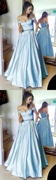 2018 off the shoulder light sky blue long prom dress, elegant prom dress with pockets, party dress