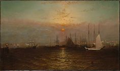 G. Baker (active ca. 1870–1900). New York Harbor with Brooklyn Bridge, after 1869. The Metropolitan Museum of Art, New York. Gift of Mary Knight Arnold, 1977 (1977.258.2) #newyork #nyc