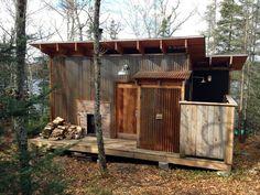 Sauna on Lake Vermilion, MN.  Corten metal siding.  Richlite lined outdoor shower.   Built by owner Quinn Carmichael.
