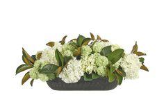 Hydrangea, Snowball, Magnolia Foliage (GF223): Hydrangea Snowball, Cream Green, Wood Trough, 36wx22dx16h