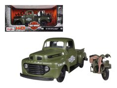 1948 Ford F-1 Pickup Truck Harley Davidson Flat Green With 1942 Harley Davidson WLA Flathead Motorcycle 1/25 by Maisto - Brand new 1:25 scale diecast car model of1948 Ford F-1 Pickup Truck Harley Davidson Flat Green With 1942 Harley Davidson WLA Flathead Motorcycledie cast car by Maisto. Brand new box. Rubber tires. Has opening doors and rear gate. Made of diecast with some plastic parts. Detailed interior, exterior. Dimensions approximately L-8,W-3,H-2.5 inches. Please note that…