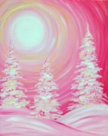 Pink winter snow landscape and sunset. Corky Canvas pink tree