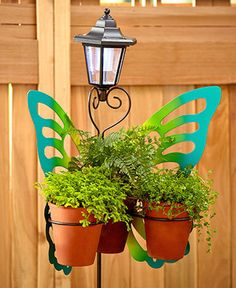Butterfly Plant Stand Green 3Ft High 3 Rings For Pots Solar Light On Top Painted #LC