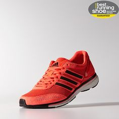 The best running shoes I've ever had: Adidas adizero Adios BOOST 20 Infrared.