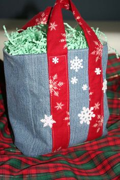 Upcycled Jean Gift Bag holiday blue jean bag by annetteswhimsies, $10.00