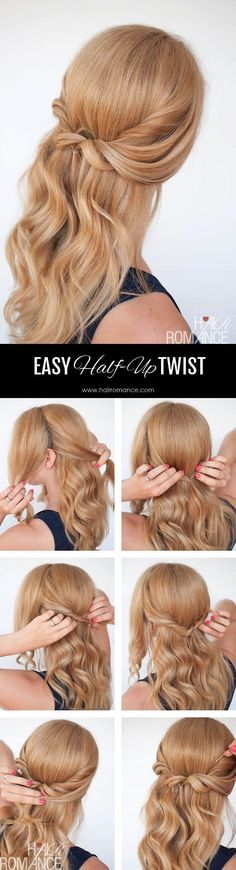 Hair Romance - Easy half up twist tutorial 4