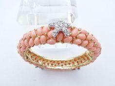 KJL-Kenneth-Jay-Lane-hinged-clamper-bracelet-faux-coral-cabochons-AA764