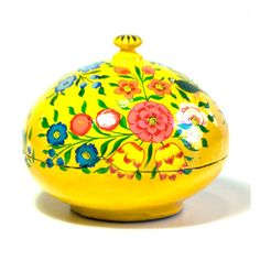 Hand Painted Floral Powder Box - yellow. Handcrafted in India. 13USD. Sold by Connected Goods.