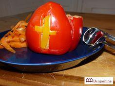 lekker samen eten: Gevulde paprika als Sinterklaas Mijter. Kijk voor het receptje op facebook.com/lekkerzelfdoen