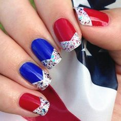 White and blue nails with pointed confetti white tips