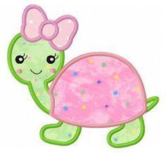Girl turtle applique machine embroidery design by FunStitch, $4.00