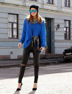electric blue sweater, torn jeans, and mirrored sunglasses // #streetstyle