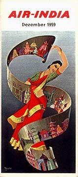 Air India (2) - Air-India International Party Vintage, Vintage Air, Vintage Travel, India Poster, Posters Vintage, Air India, Indian Art, Indian Style, Vintage India