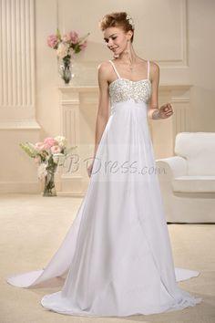 Fabulous A-Line Empire Spaghetti Straps Sweeping Wedding Dress