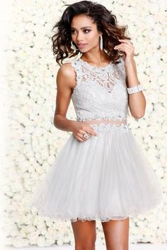 Silver Lace-layered Short Formal With Tutu Skirt 4045