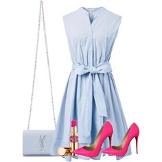 A fashion look from May 2016 featuring Chicwish dresses, Christian Louboutin pumps and Yves Saint Laurent shoulder bags. Browse and shop related looks. Classy Outfits, Pretty Outfits, Chic Outfits, Fashion Outfits, Love Fashion, Girl Fashion, Fashion Looks, Womens Fashion, Style Bleu