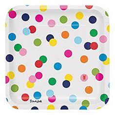 Amazon.com: French Bull Birthday Dots- 9-Inch Square Dinner Plate, 10-Count: Kitchen & Dining
