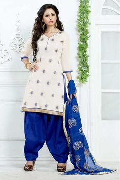 #Andaazfashion presents Cream Cotton Patiala Suit With Embroidered Dupatta  http://www.andaazfashion.fr/salwar-kameez/patiala-suits/cream-cotton-patiala-suit-with-embroidered-dupatta-dmv13766.html
