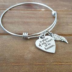 READY TO SHIP A Piece Of my Heart is in Heaven Angel Wing Memorial bracelet