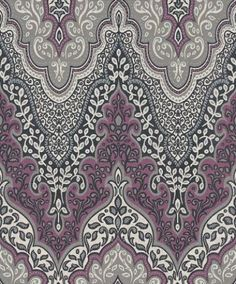 Glitter Damask (404746) - Albany Wallpapers - An Indian inspired large scale all over damask design drawn in white, grey and purple, with silver and purple glitter - an incredible effect. Please request sample for true colour match.